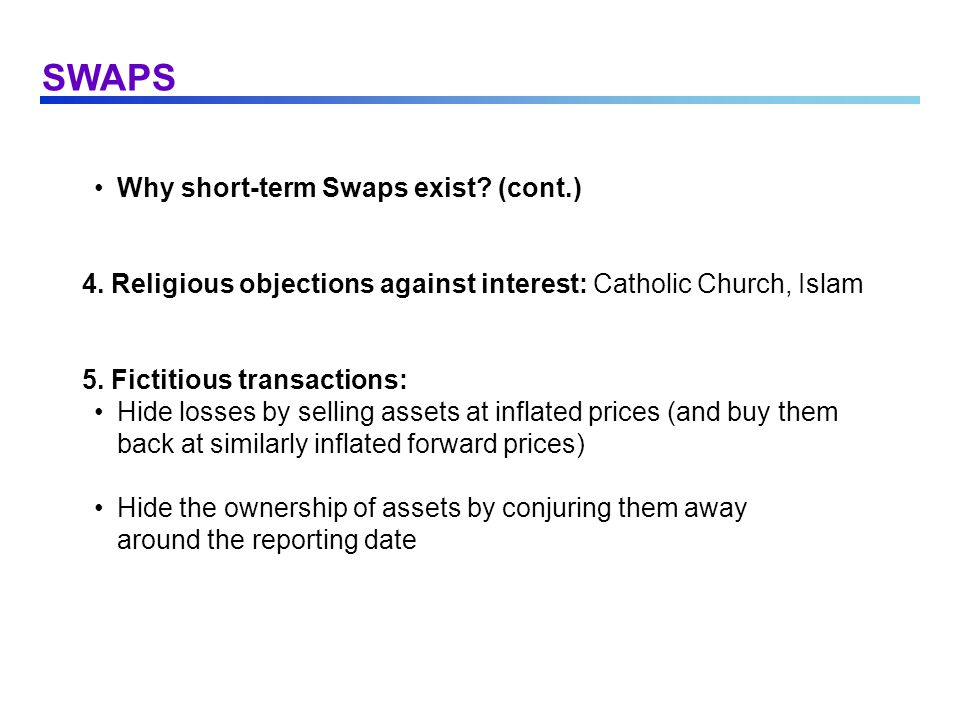 SWAPS Why short-term Swaps exist (cont.)