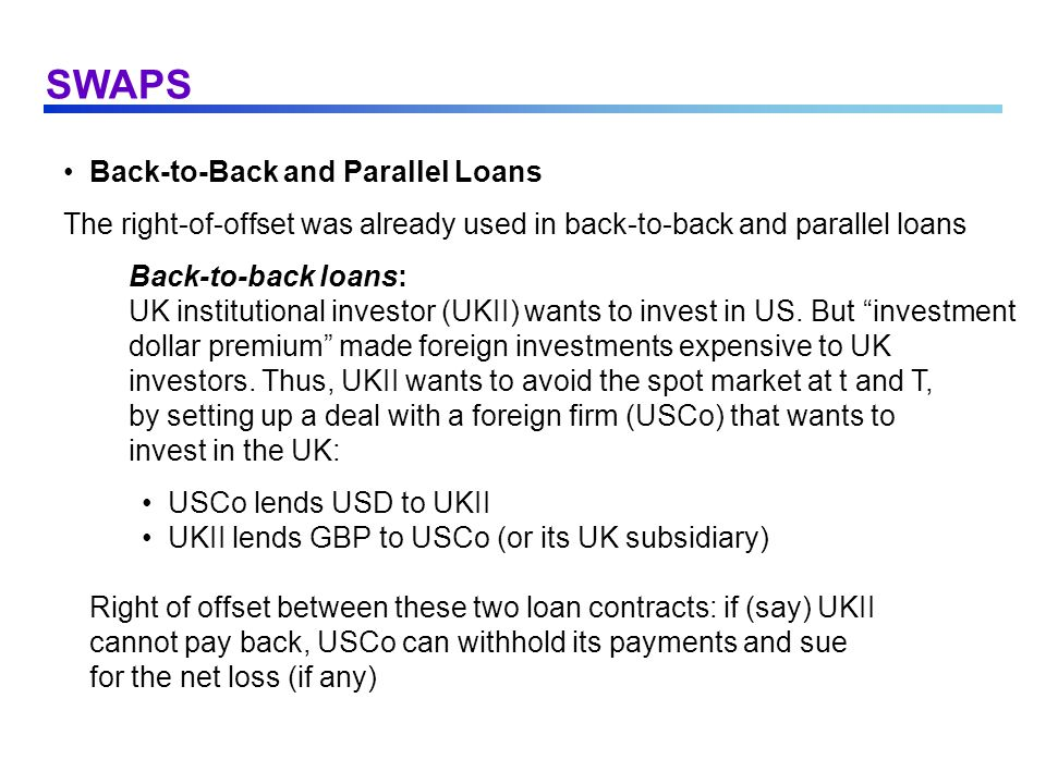 SWAPS Back-to-Back and Parallel Loans