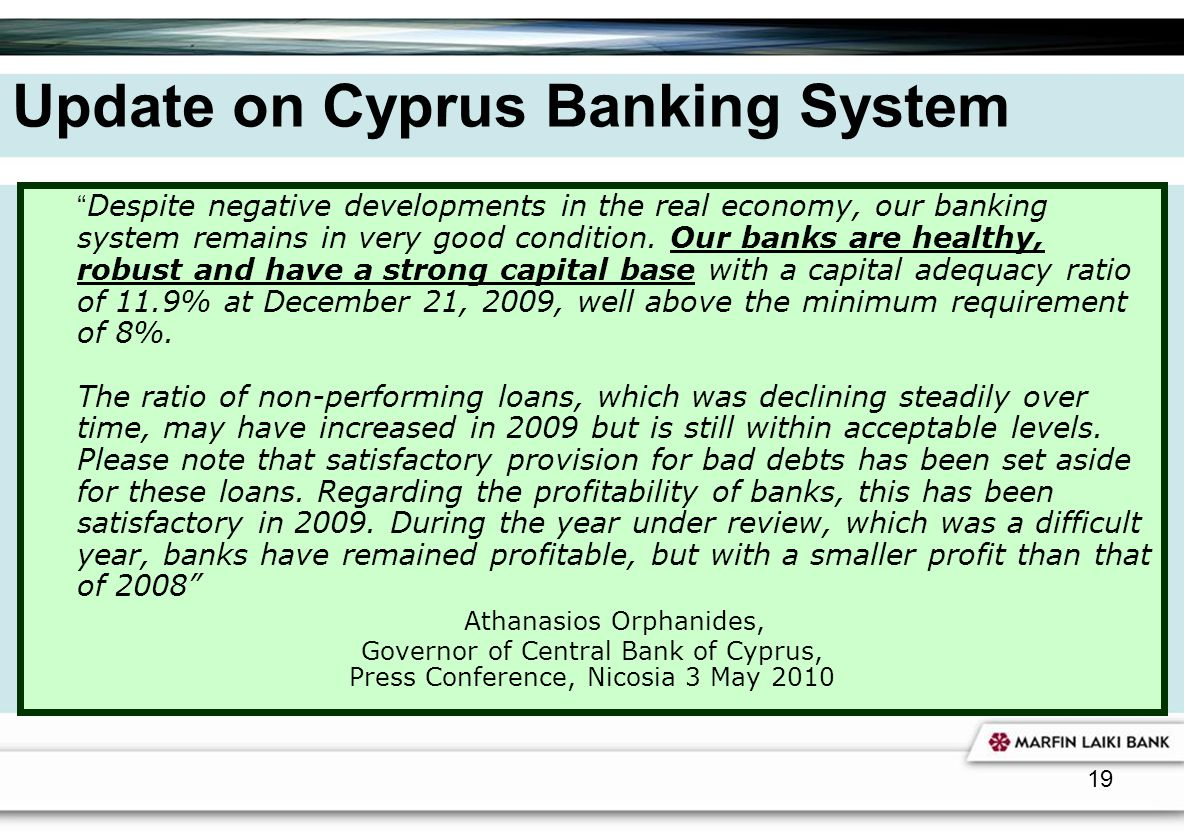 Update on Cyprus Banking System