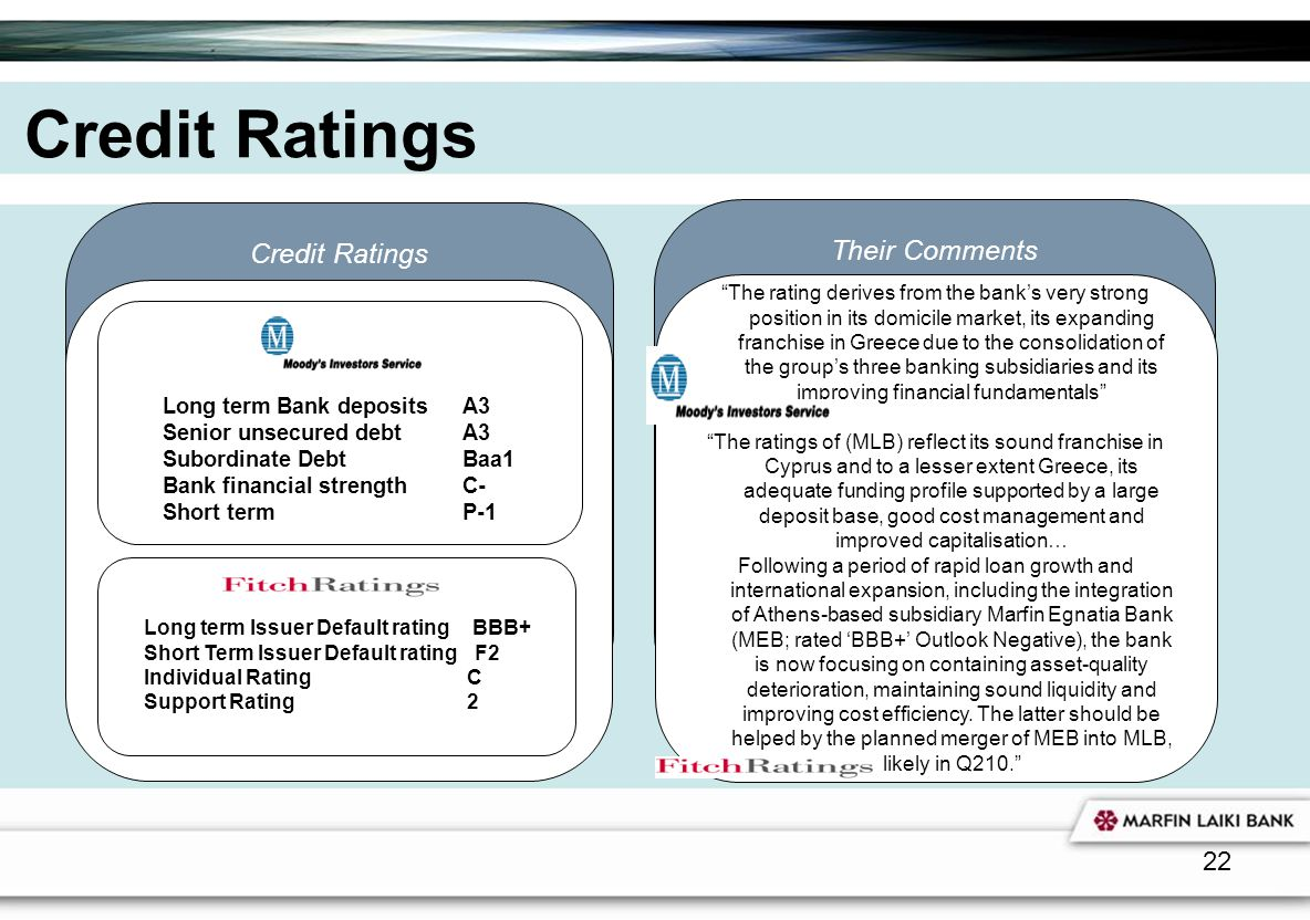 Credit Ratings Credit Ratings Their Comments