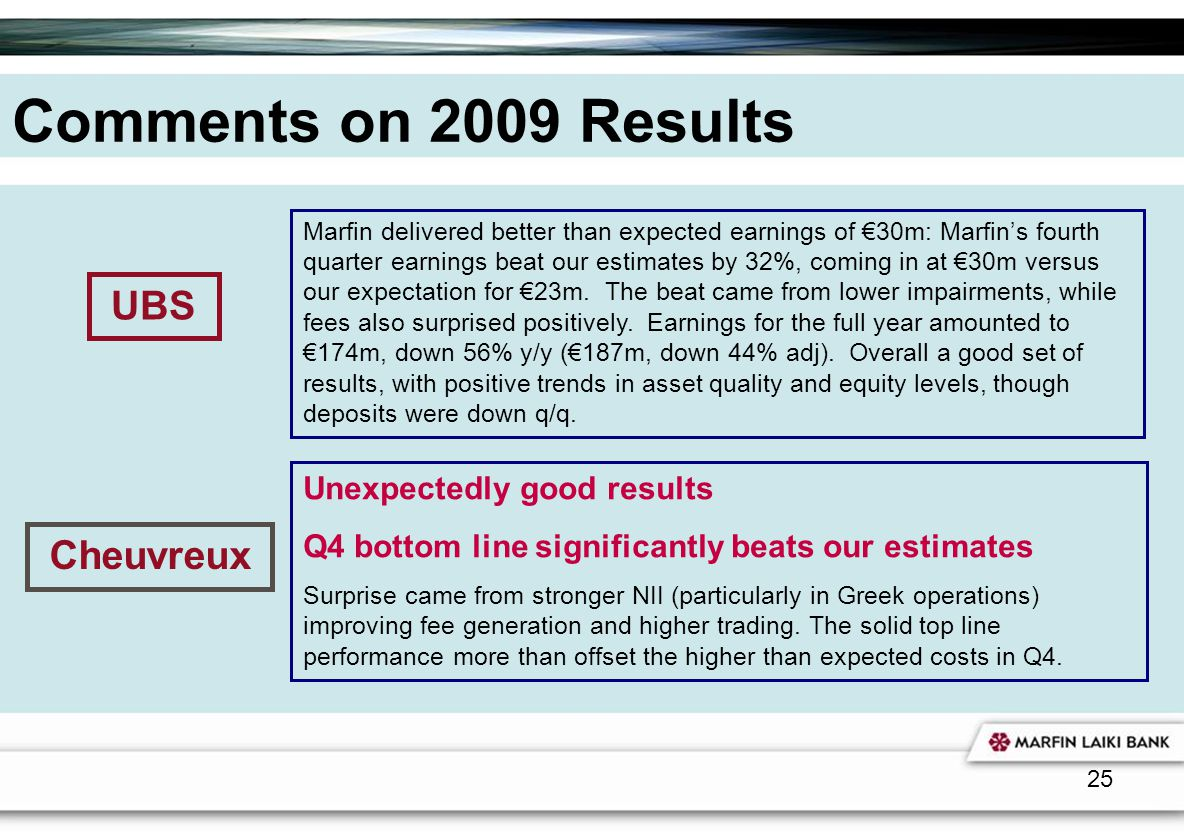 Comments on 2009 Results UBS Cheuvreux Unexpectedly good results