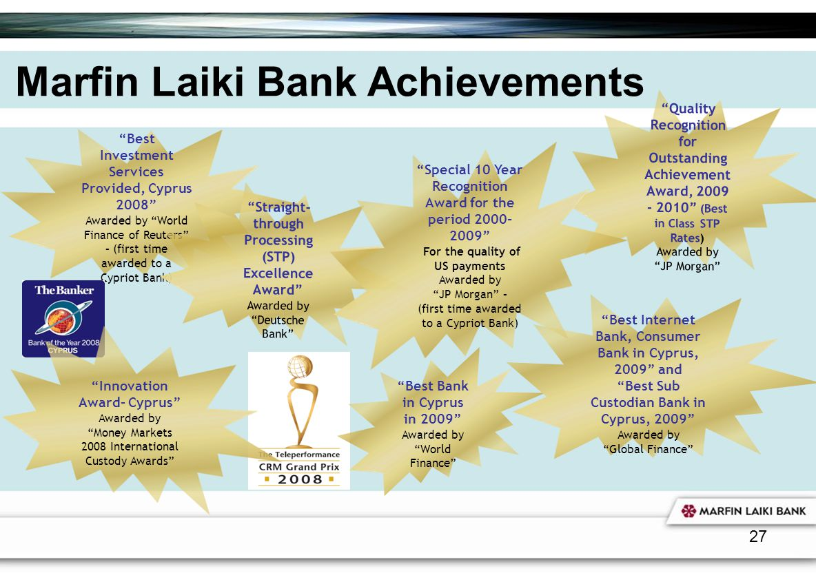 Marfin Laiki Bank Achievements