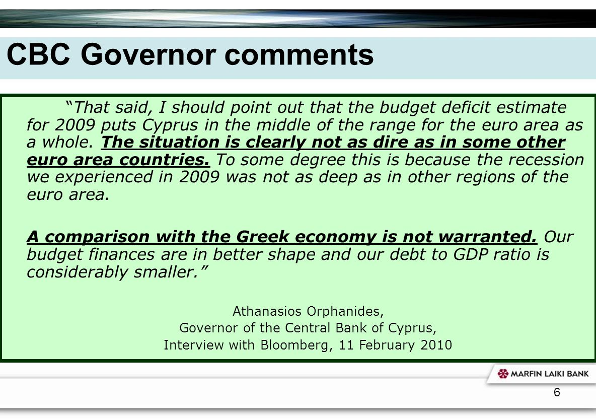 CBC Governor comments