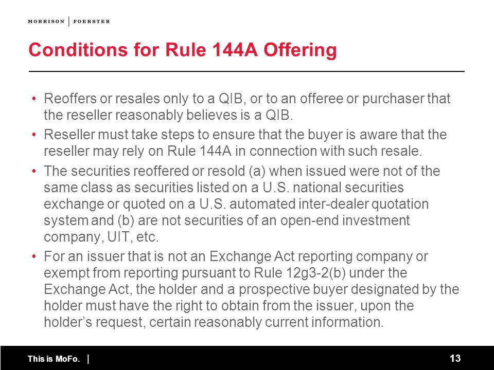 Conditions for Rule 144A Offering