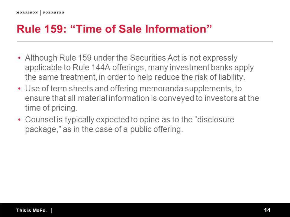 Rule 159: Time of Sale Information