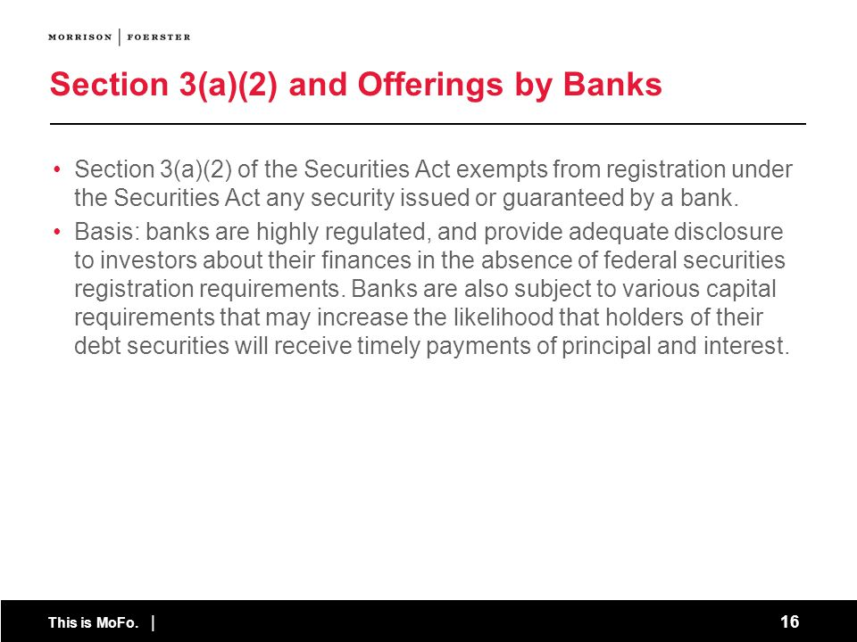 Section 3(a)(2) and Offerings by Banks