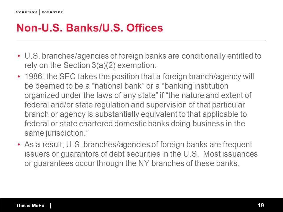 Non-U.S. Banks/U.S. Offices