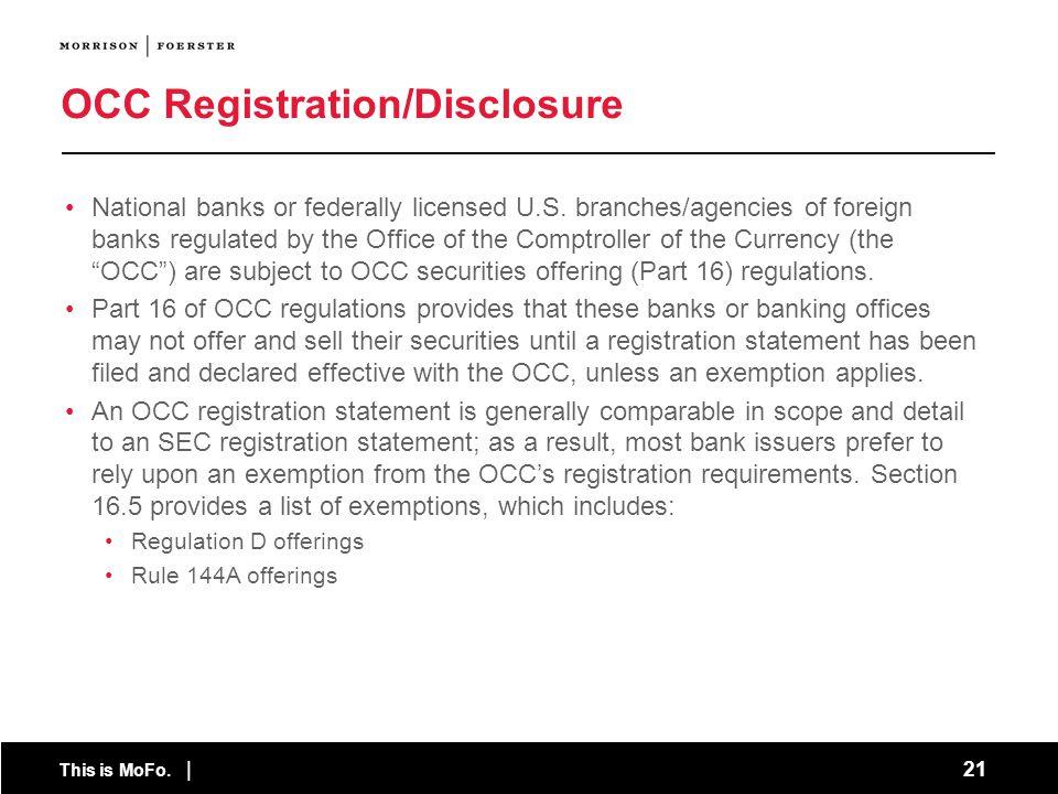 OCC Registration/Disclosure