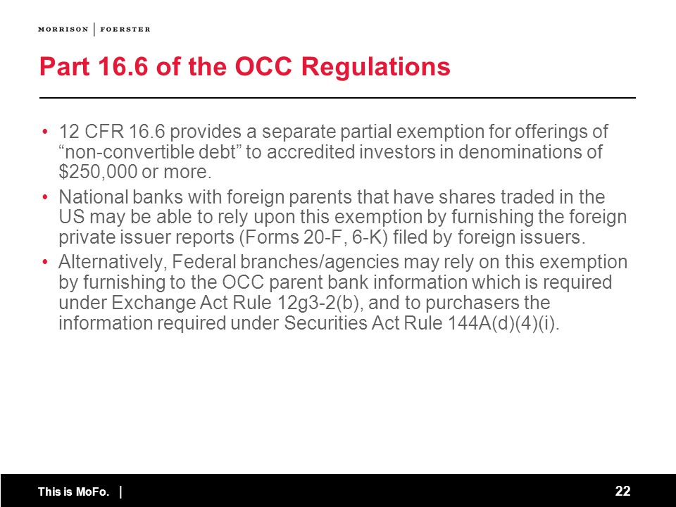 Part 16.6 of the OCC Regulations