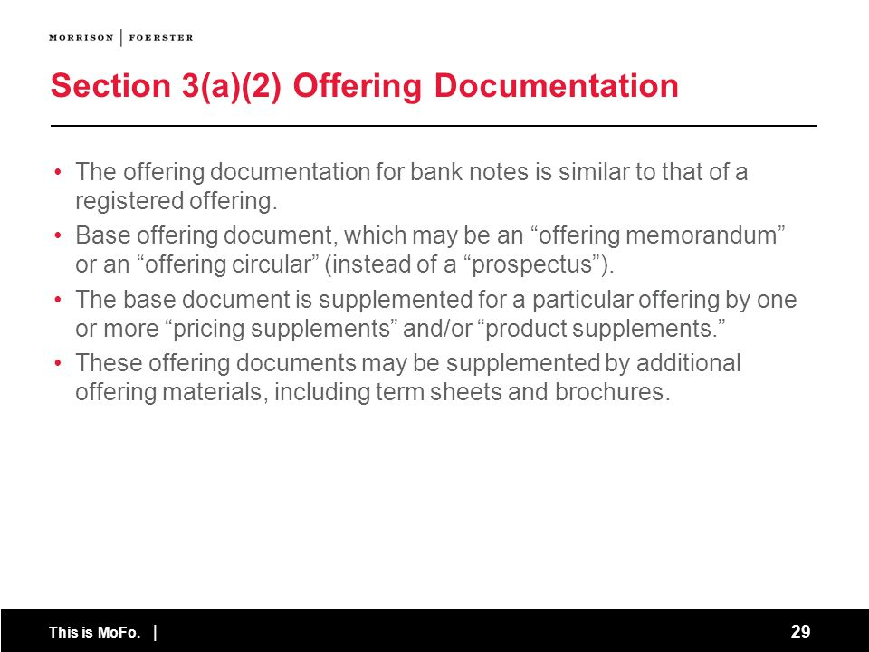 Section 3(a)(2) Offering Documentation