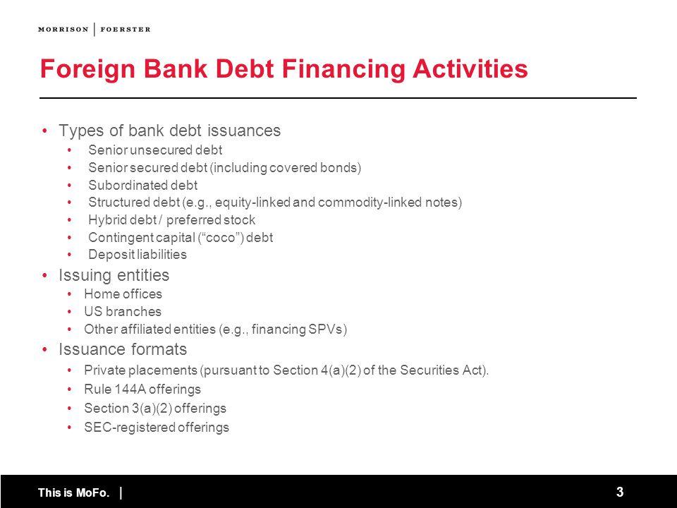 Foreign Bank Debt Financing Activities