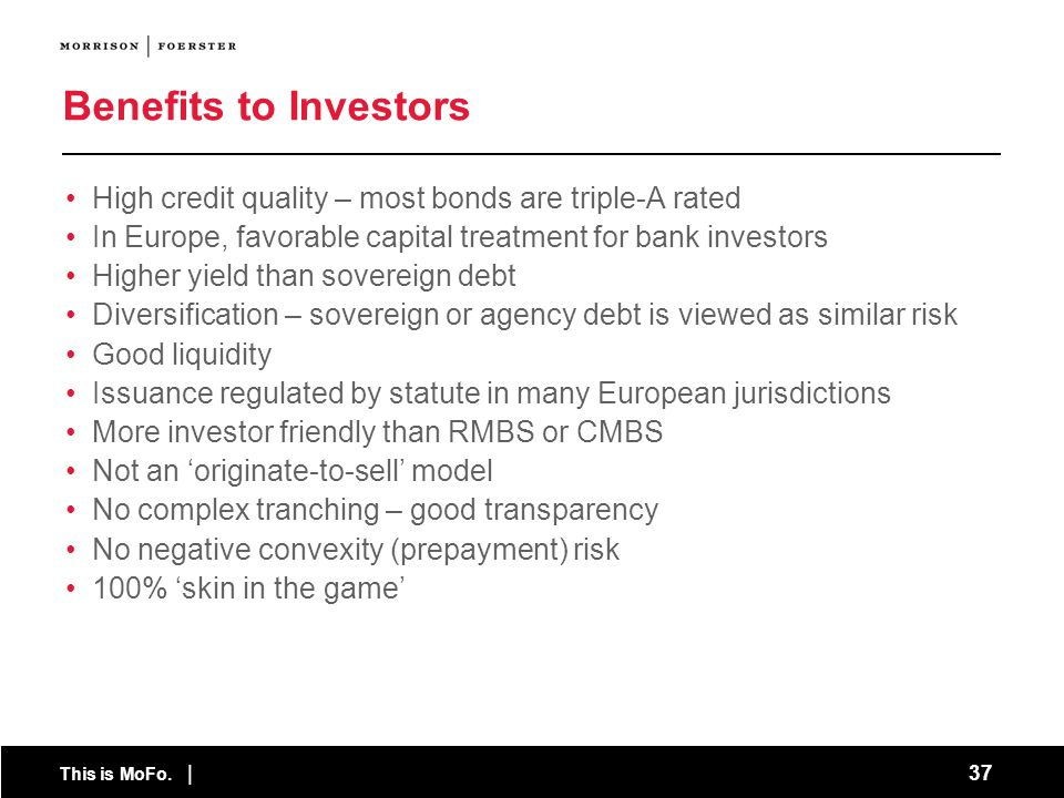 Benefits to Investors High credit quality – most bonds are triple-A rated. In Europe, favorable capital treatment for bank investors.