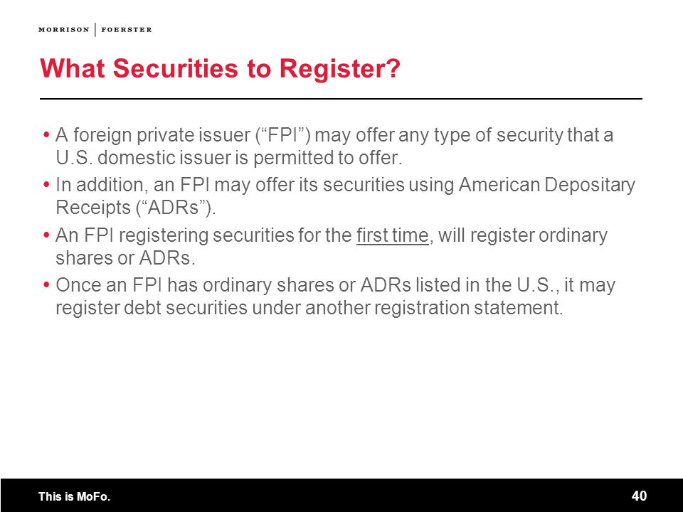 What Securities to Register