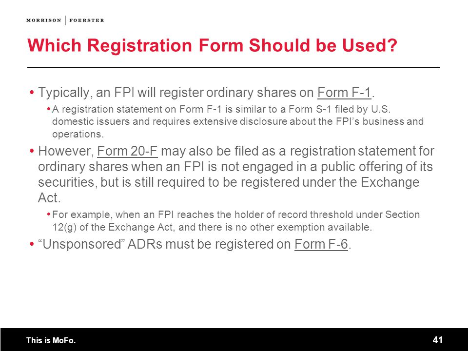 Which Registration Form Should be Used