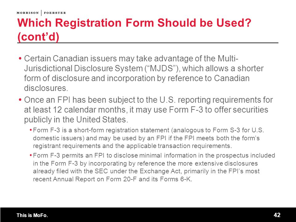Which Registration Form Should be Used (cont'd)