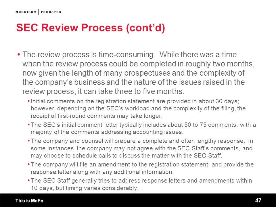 SEC Review Process (cont'd)