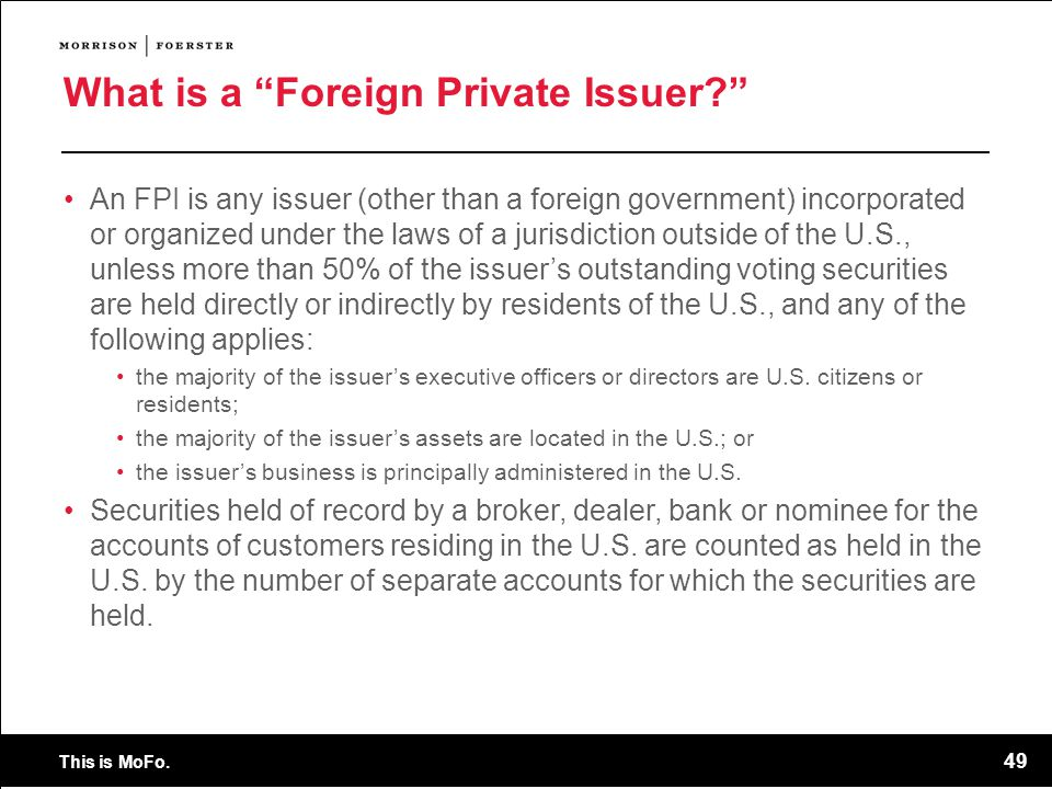 What is a Foreign Private Issuer