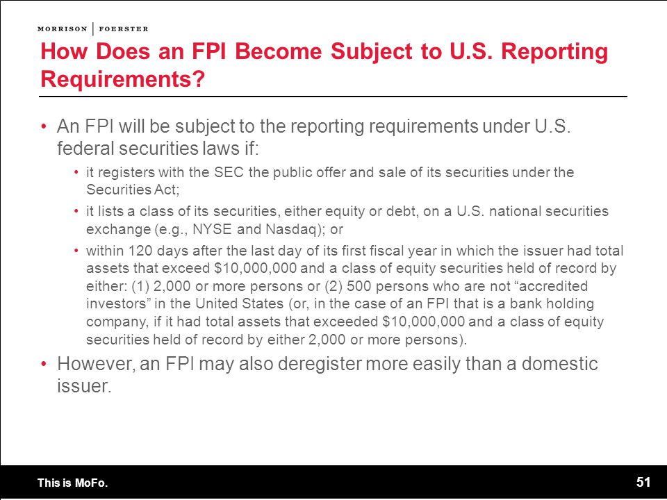 How Does an FPI Become Subject to U.S. Reporting Requirements