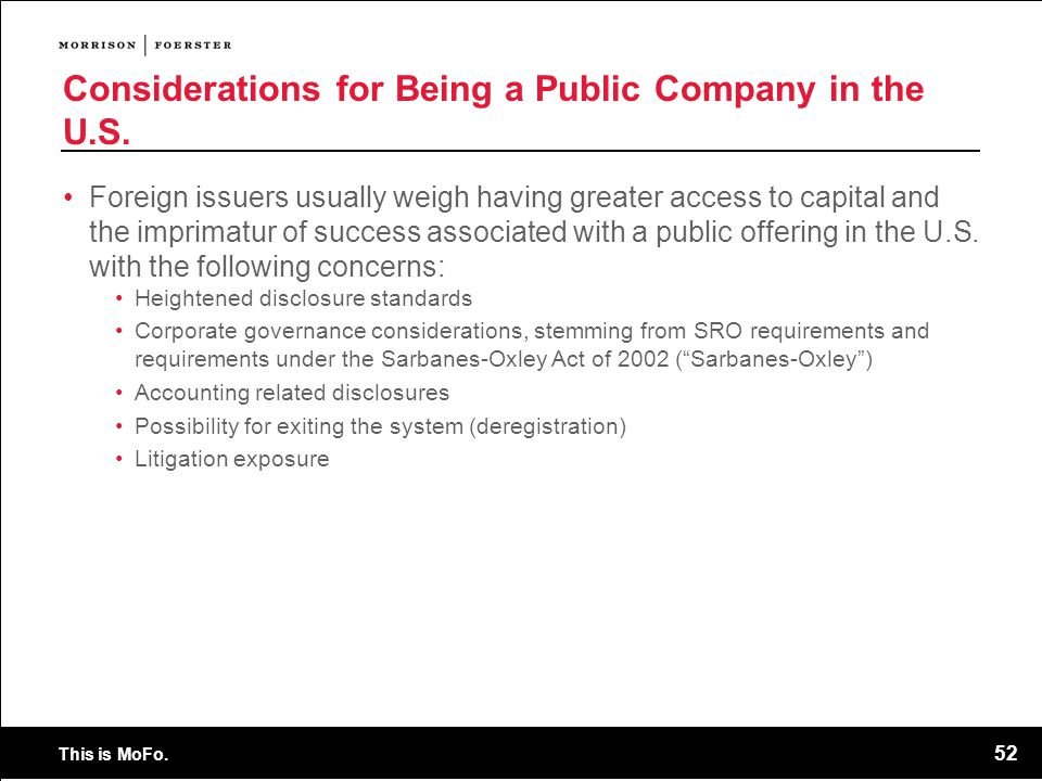 Considerations for Being a Public Company in the U.S.