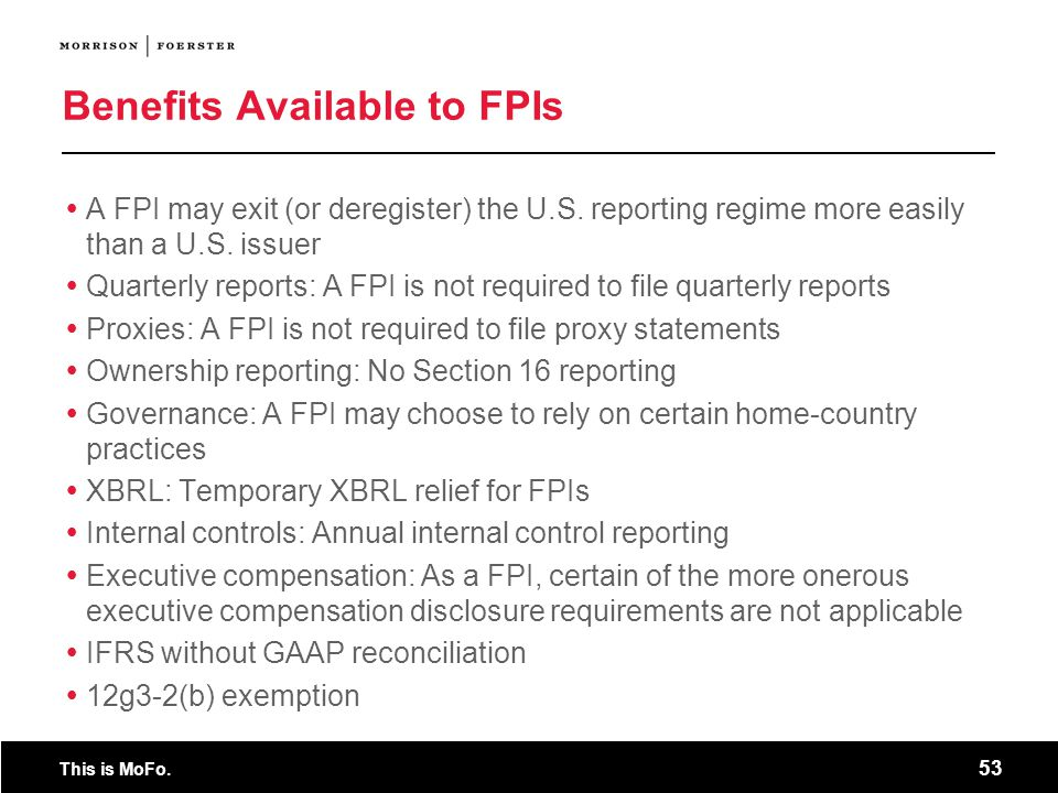 Benefits Available to FPIs
