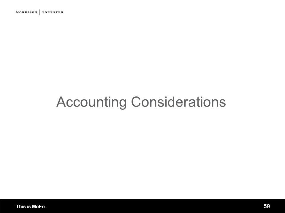 Accounting Considerations