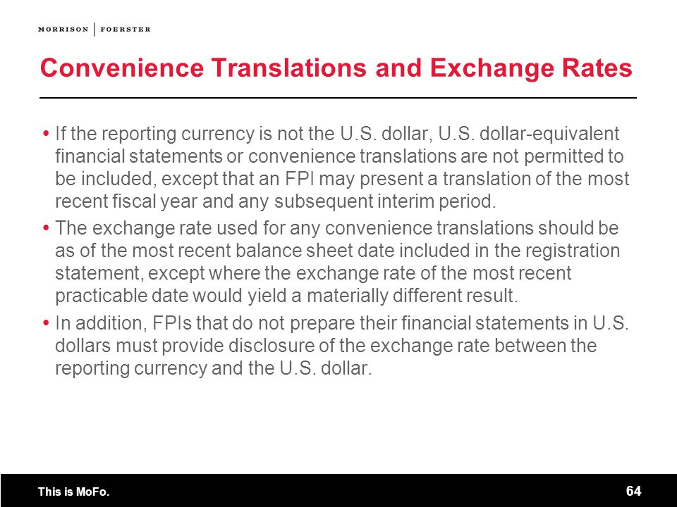 Convenience Translations and Exchange Rates