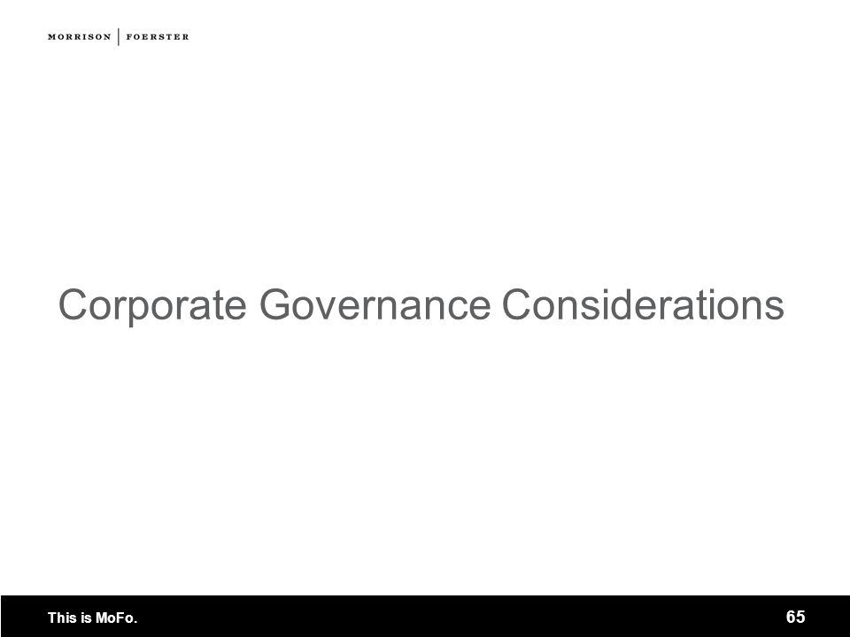 Corporate Governance Considerations