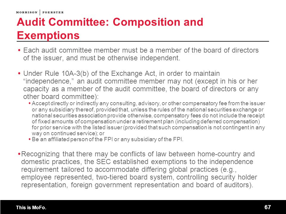 Audit Committee: Composition and Exemptions