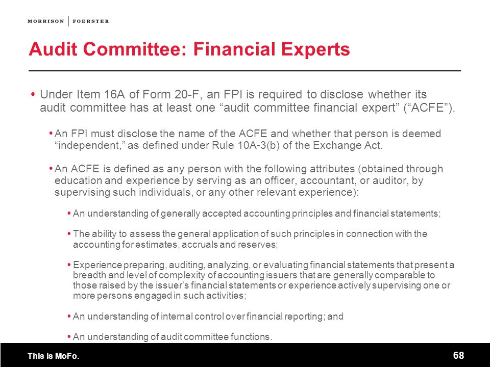 Audit Committee: Financial Experts