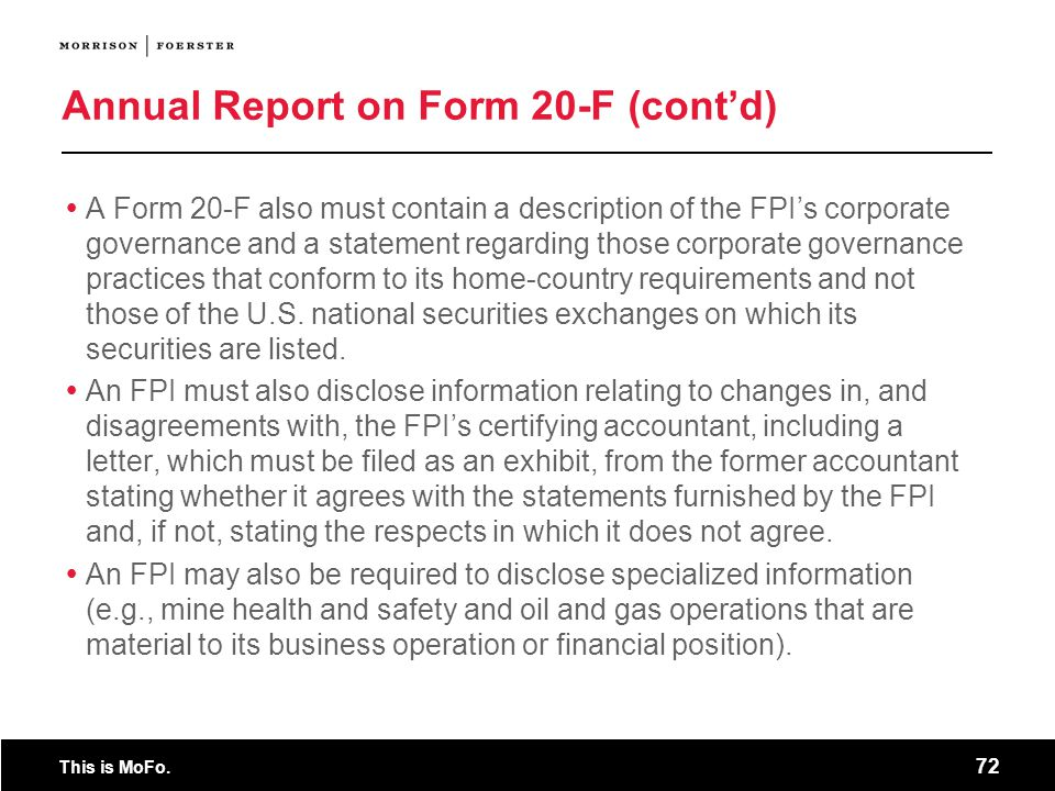 Annual Report on Form 20-F (cont'd)