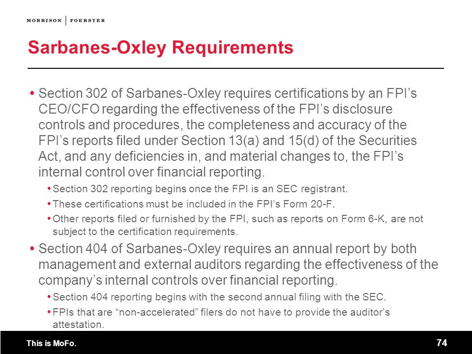 Sarbanes-Oxley Requirements
