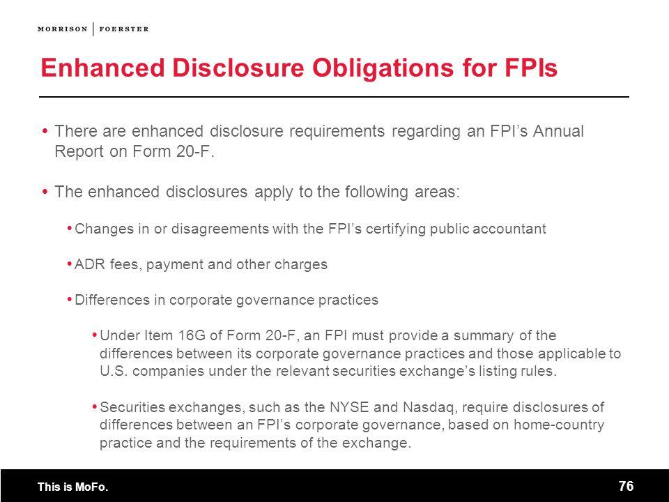 Enhanced Disclosure Obligations for FPIs