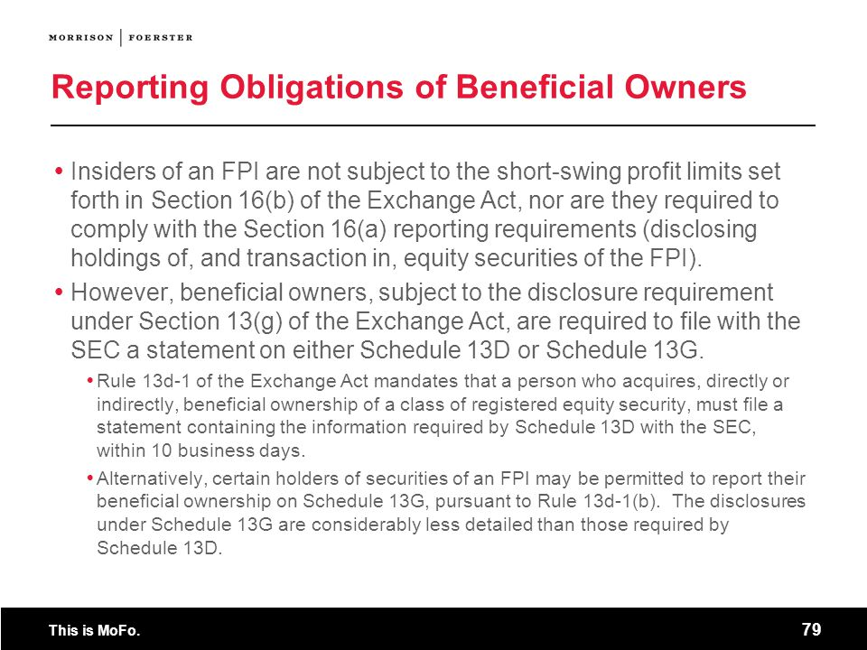 Reporting Obligations of Beneficial Owners