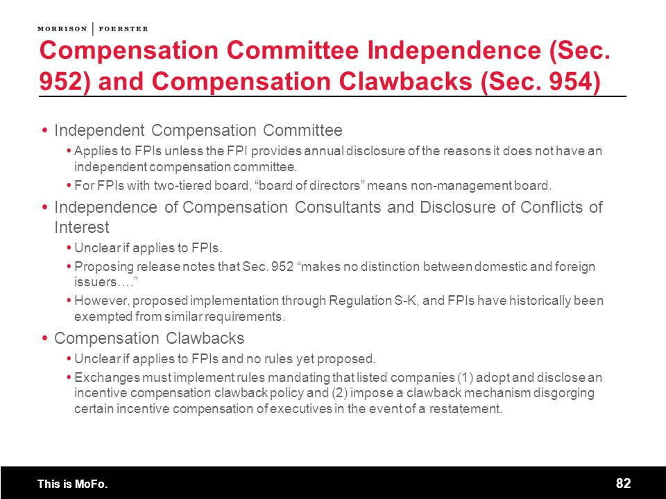 Compensation Committee Independence (Sec