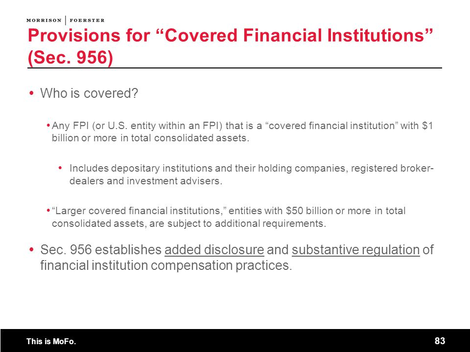 Provisions for Covered Financial Institutions (Sec. 956)