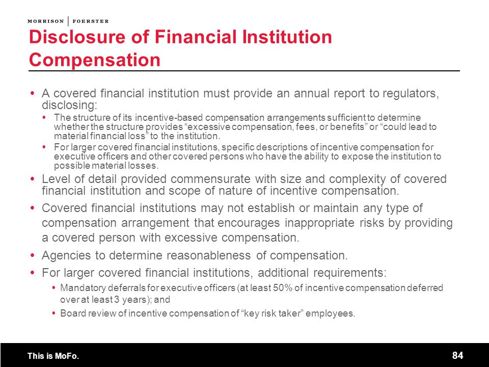 Disclosure of Financial Institution Compensation