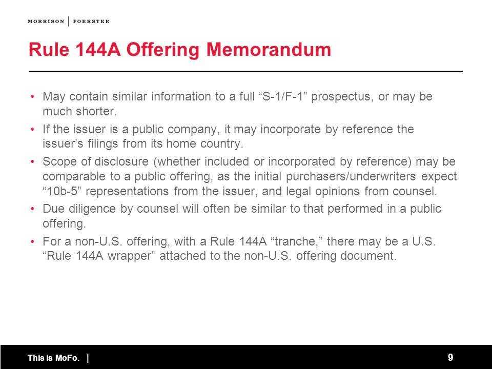 Rule 144A Offering Memorandum