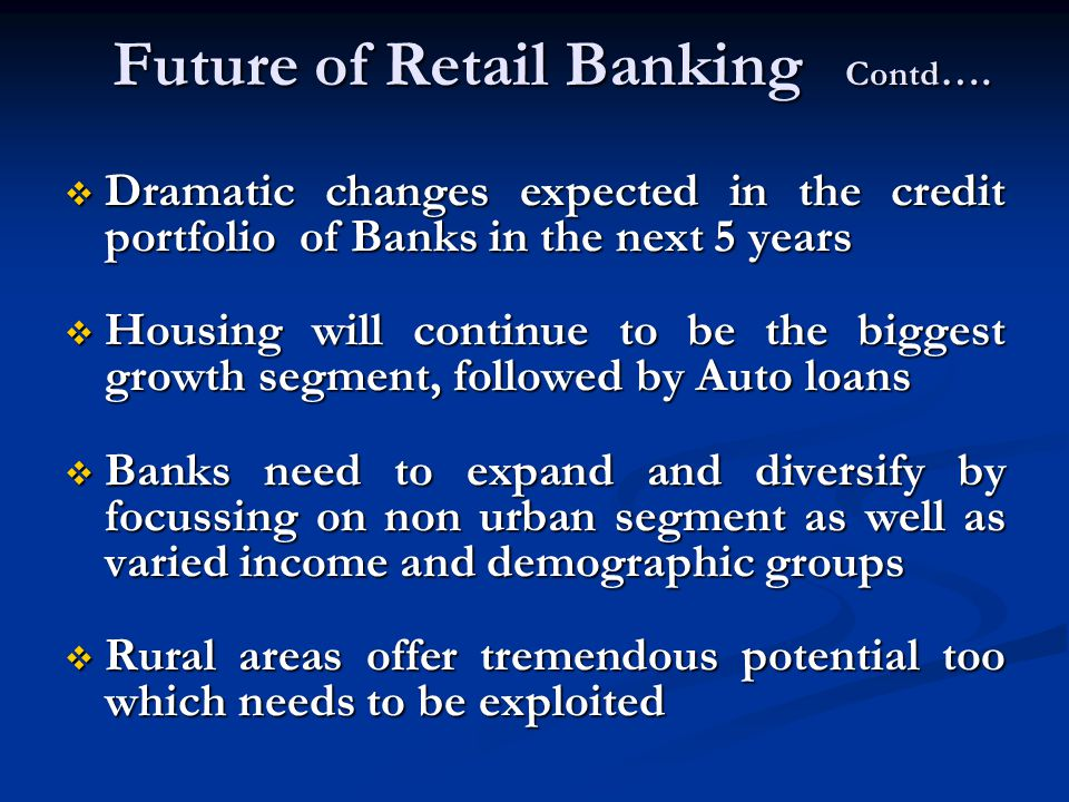 Future of Retail Banking Contd….