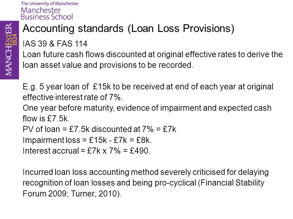 Accounting standards (Loan Loss Provisions)
