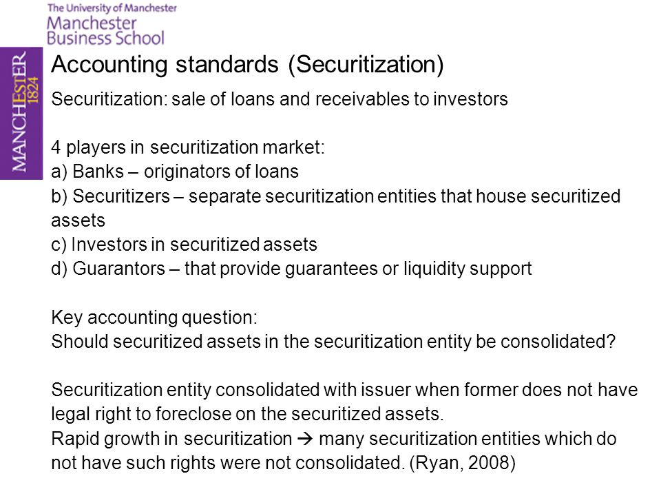 Accounting standards (Securitization)