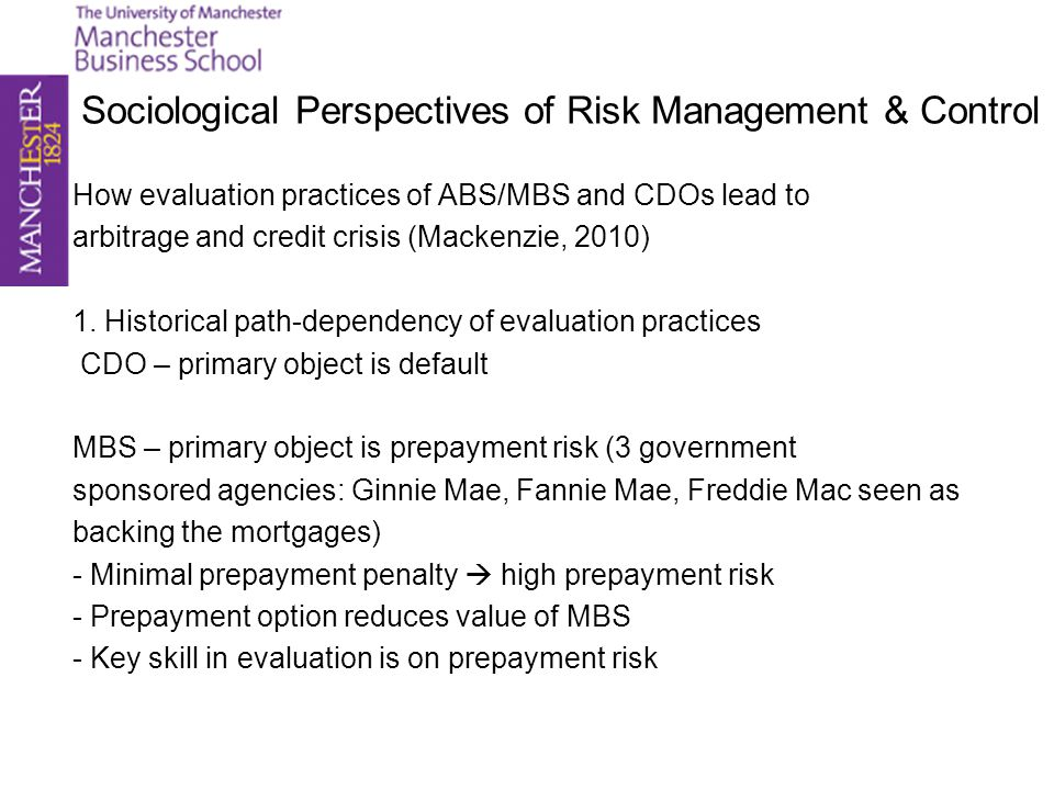 Sociological Perspectives of Risk Management & Control