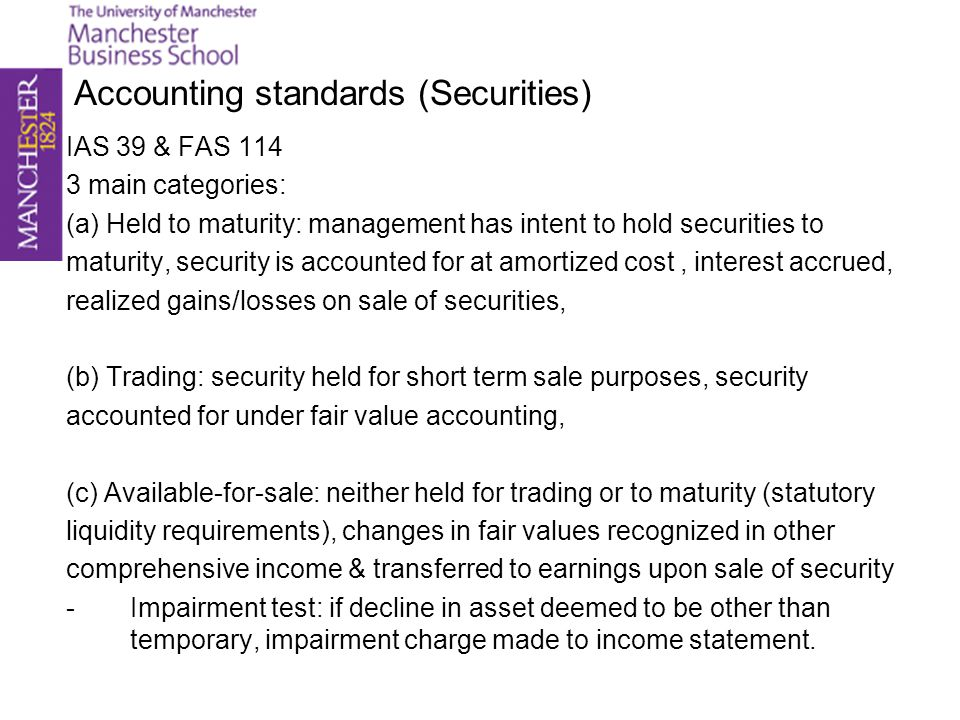 Accounting standards (Securities)