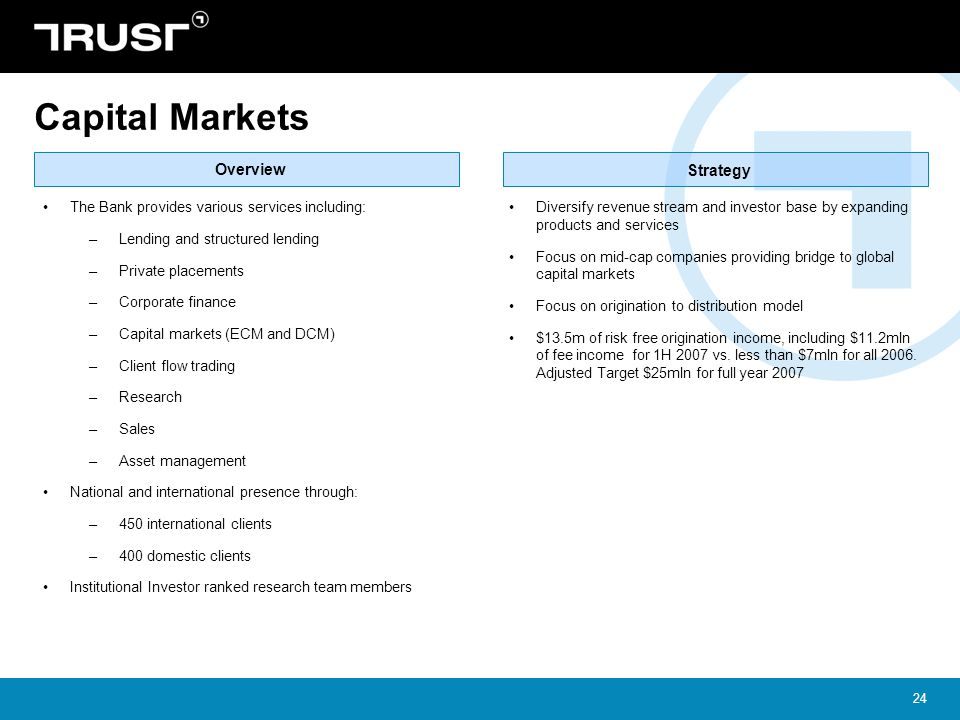 Capital Markets Overview Strategy