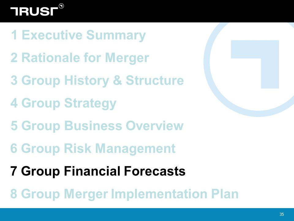 1 Executive Summary 2 Rationale for Merger. 3 Group History & Structure. 4 Group Strategy. 5 Group Business Overview.
