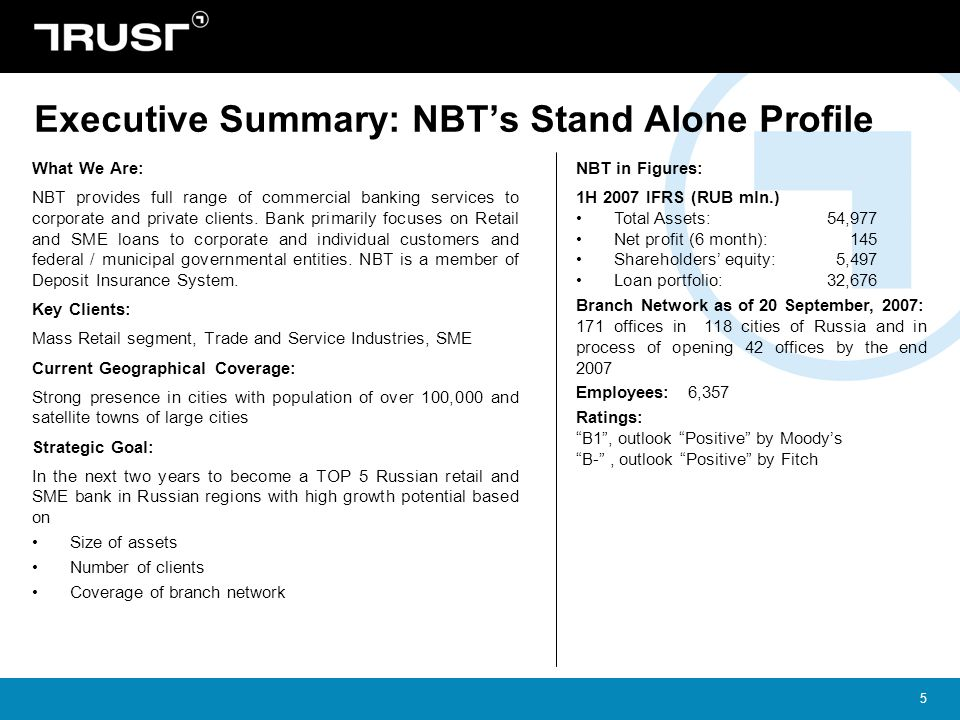 Executive Summary: NBT's Stand Alone Profile