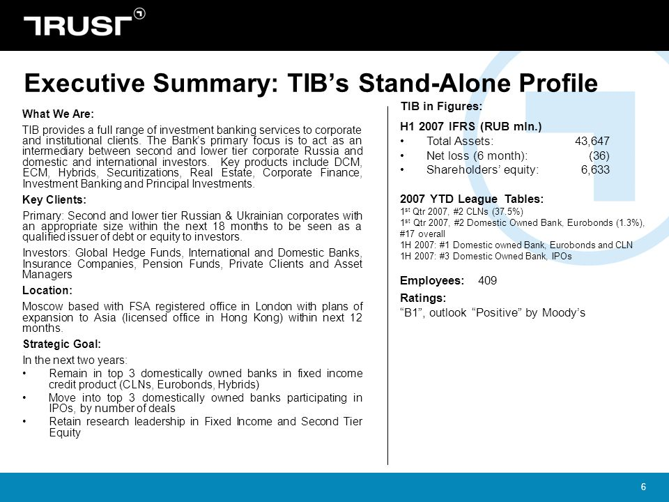 Executive Summary: TIB's Stand-Alone Profile