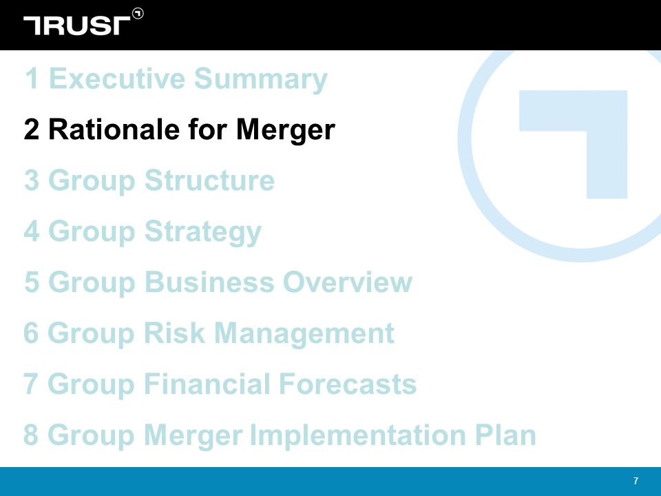 1 Executive Summary 2 Rationale for Merger. 3 Group Structure. 4 Group Strategy. 5 Group Business Overview.