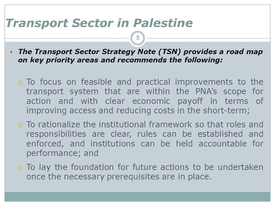 Transport Sector in Palestine