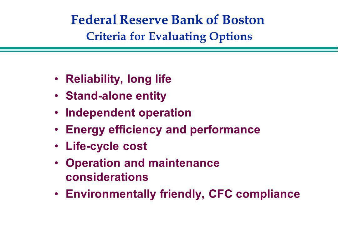Federal Reserve Bank of Boston Criteria for Evaluating Options