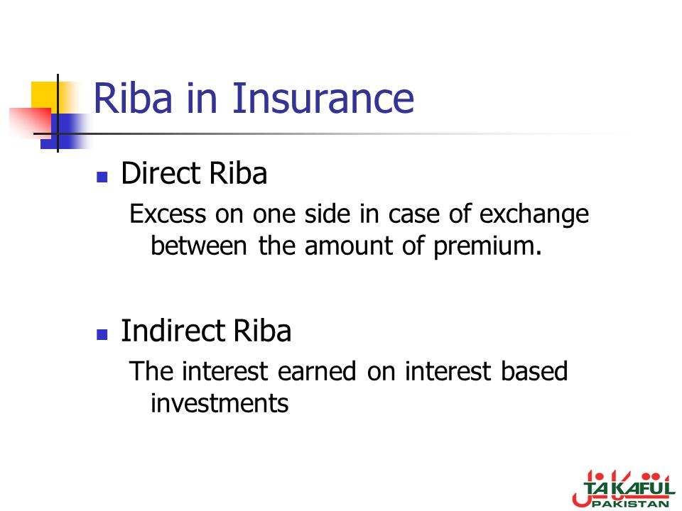 Riba in Insurance Direct Riba Indirect Riba
